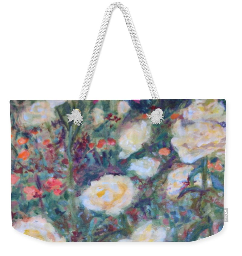 Quin Sweetman Weekender Tote Bag featuring the painting Sunny Day At The Rose Garden by Quin Sweetman