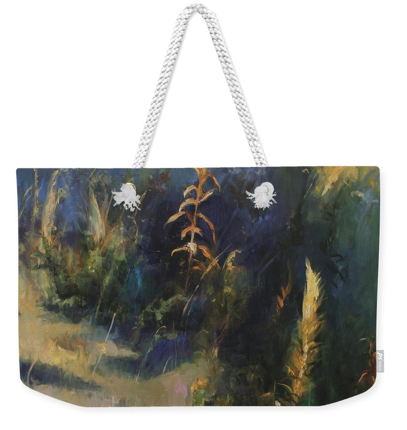 Lin Petershagen Weekender Tote Bag featuring the painting Sunny Day by Lin Petershagen