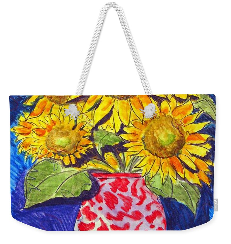 Sunflower Weekender Tote Bag featuring the painting Sunny Disposition by Jean Blackmer