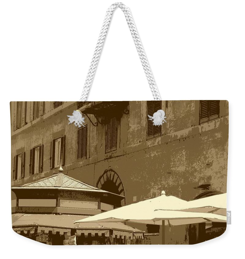 Italy Weekender Tote Bag featuring the photograph Sunny Italian Cafe - Sepia by Carol Groenen