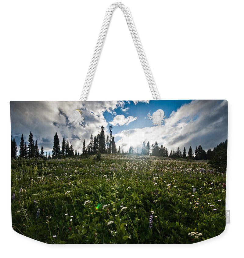 Mount Rainier National Park Weekender Tote Bag featuring the photograph Sunny Meadows by Robert J Caputo