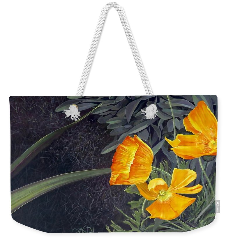 Orange Weekender Tote Bag featuring the painting Sunny Mystery by Hunter Jay