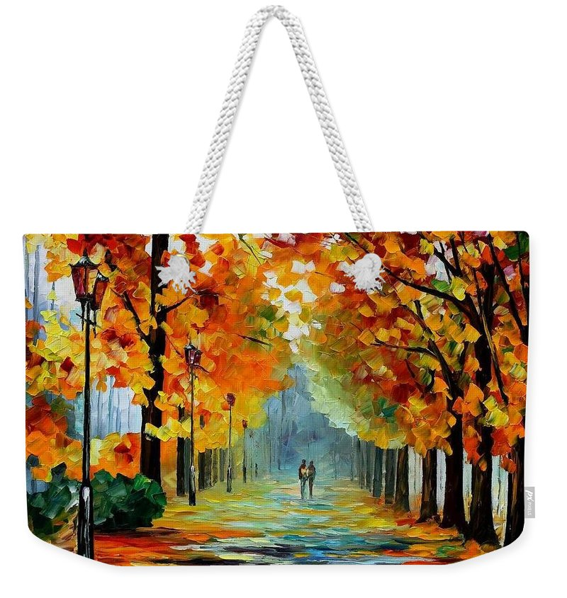 Afremov Weekender Tote Bag featuring the painting Sunny October by Leonid Afremov