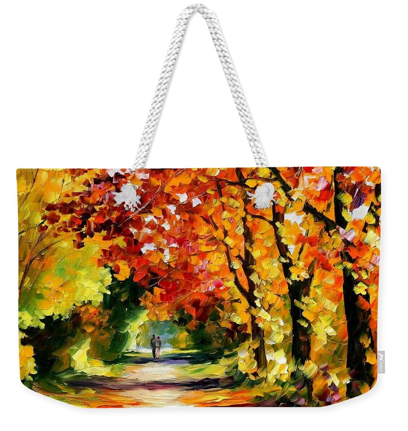 Afremov Weekender Tote Bag featuring the painting Sunny Path by Leonid Afremov