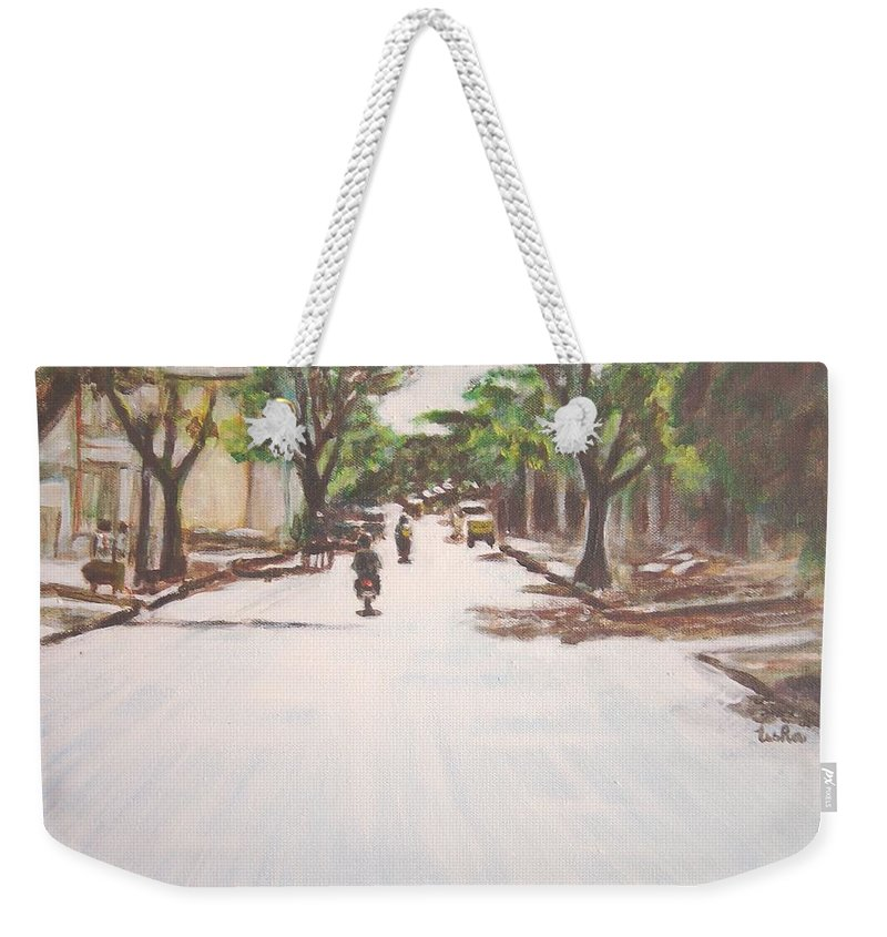 Sun Weekender Tote Bag featuring the painting Sunny Road by Usha Shantharam