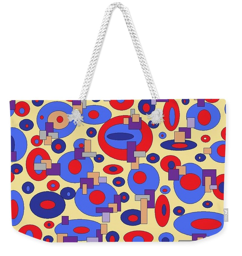 Digital Abstract Weekender Tote Bag featuring the digital art Sunny Sea by Jordana Sands