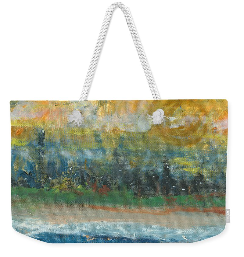 Beachscape Weekender Tote Bag featuring the painting Sunny Side Beach by Jorge Delara