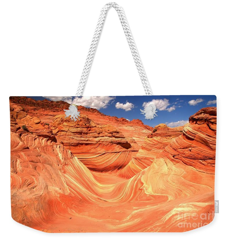 The Wave Weekender Tote Bag featuring the photograph Sunny Skies Over The Wave by Adam Jewell