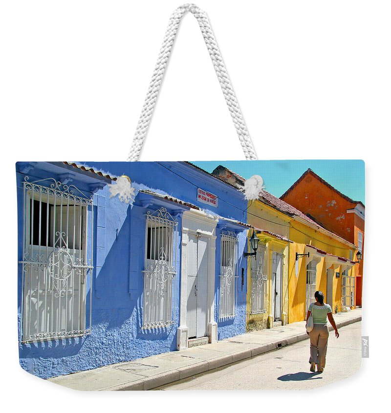 Caribbean Weekender Tote Bag featuring the photograph Sunny Street With Colored Houses - Cartagena-colombia by Riccardo Forte