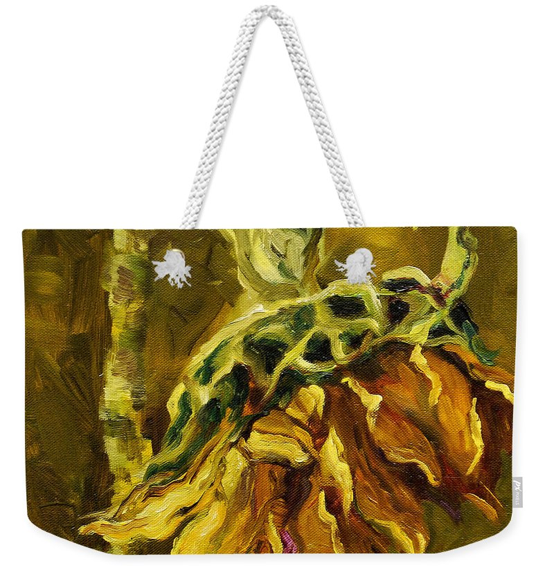 Floral Weekender Tote Bag featuring the painting Sunny Sunflower by Diane Whitehead