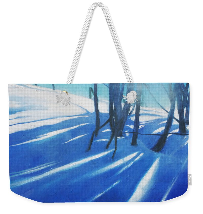 Lin Petershagen Weekender Tote Bag featuring the painting Sunny Traintrip To Hamar by Lin Petershagen