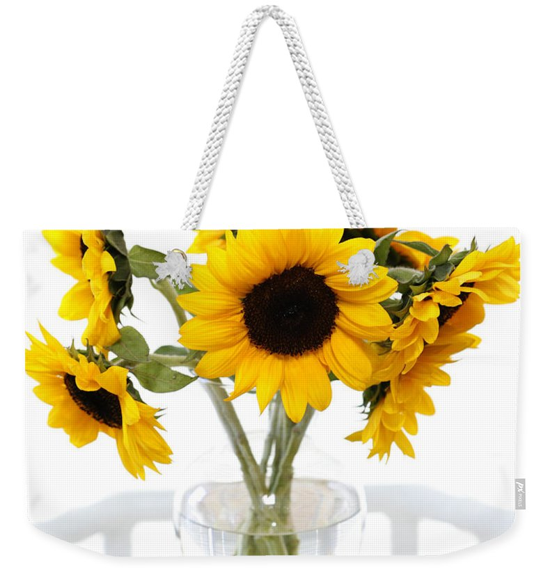 Sunflower Weekender Tote Bag featuring the photograph Sunny Vase Of Sunflowers by Marilyn Hunt