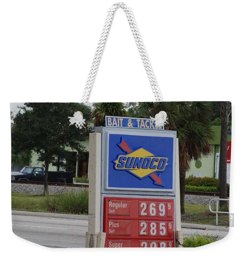 Gas Station Weekender Tote Bag featuring the photograph Sunoco Bait And Tackle by Rob Hans