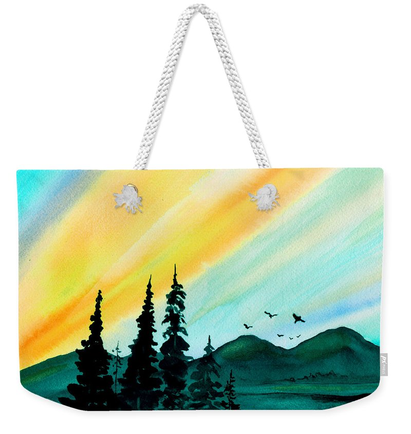 Landscape Weekender Tote Bag featuring the painting Sunrays by Brenda Owen