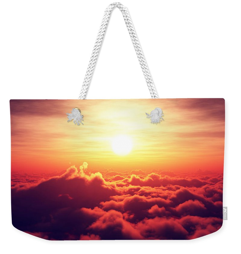 Sunrise Weekender Tote Bag featuring the photograph Sunrise Above The Clouds by Johan Swanepoel