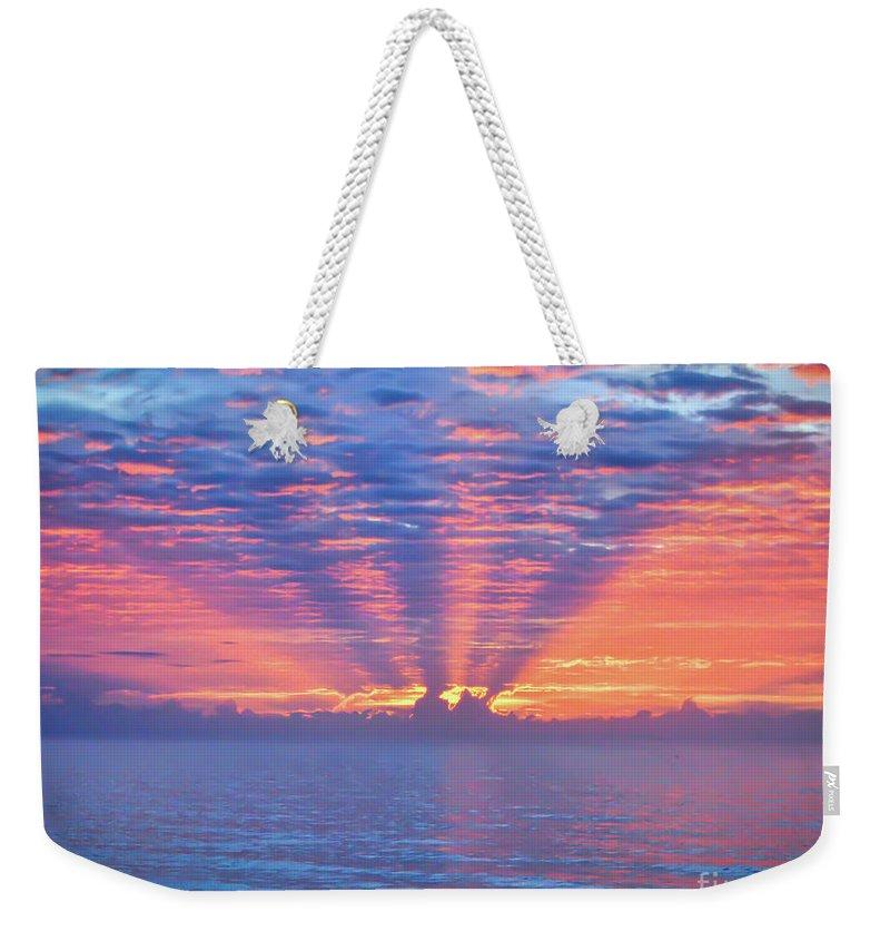 Sunrise Weekender Tote Bag featuring the photograph Sunrise At Atlantic Beach by Kerri Farley