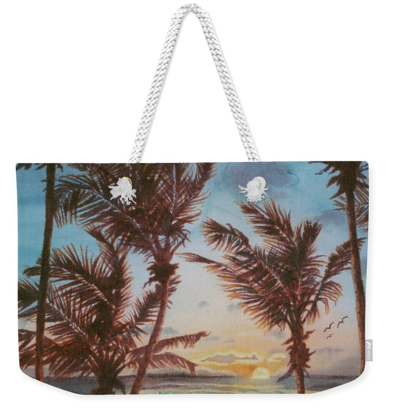 Coconut Tree Weekender Tote Bag featuring the painting Sunrise At Cattlewash 3 by Deborah Younglao