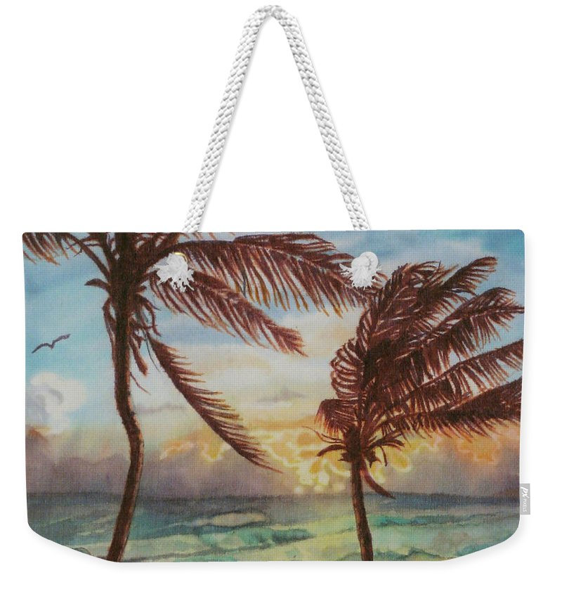 Coconut Tree Weekender Tote Bag featuring the painting Sunrise At Cattlewash 4 by Deborah Younglao