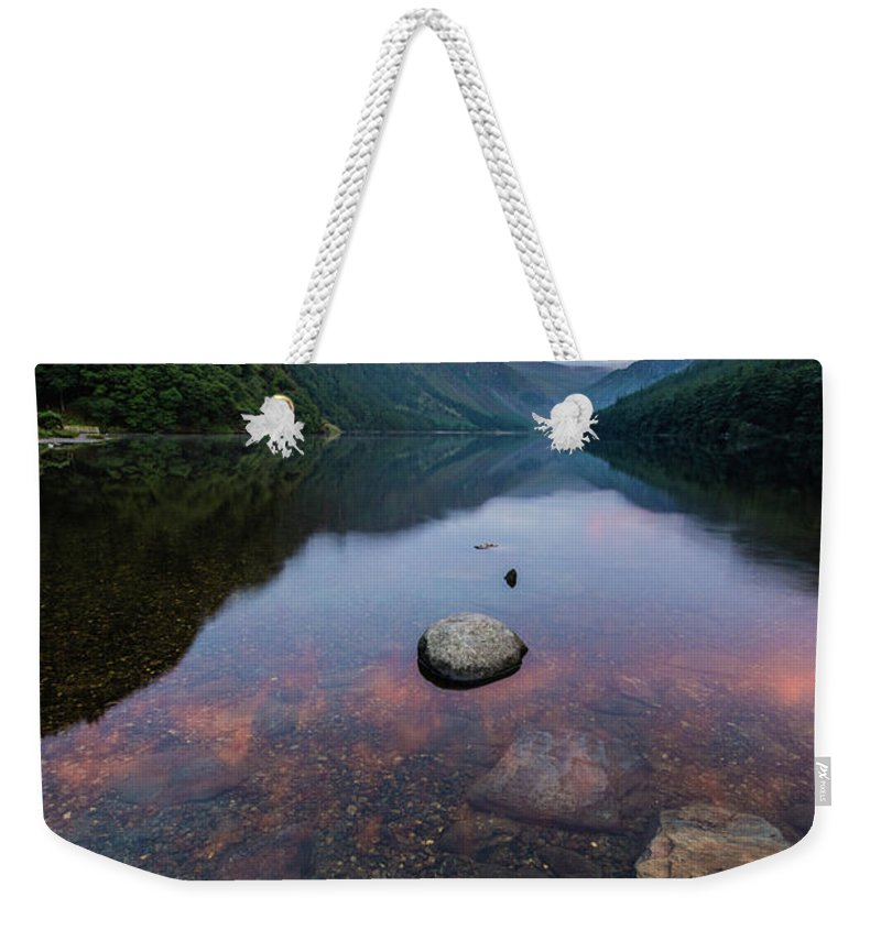 Sunrise Weekender Tote Bag featuring the photograph Sunrise At Glendalough Upper Lake #2, County Wicklow, Ireland by Anthony Lawlor