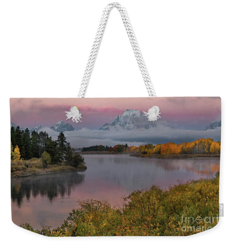 Sunrise At Oxbow Bend Weekender Tote Bag featuring the photograph Sunrise At Oxbow Bend by Lynn Sprowl
