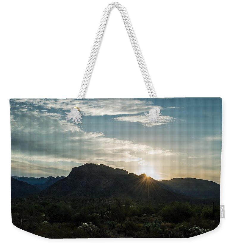 Arizona Weekender Tote Bag featuring the photograph Sunrise At Sabino Canyon by Ray Sheley
