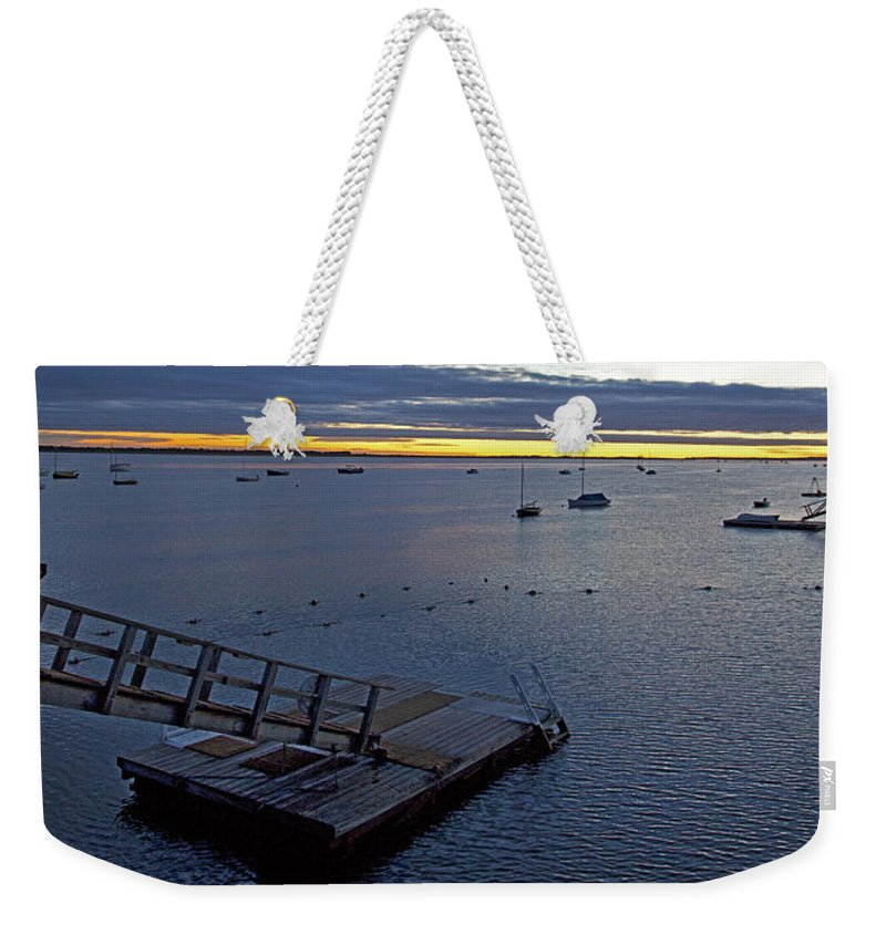 Barnstable Weekender Tote Bag featuring the photograph Sunrise At The Barnstable Yacht Club by Charles Harden