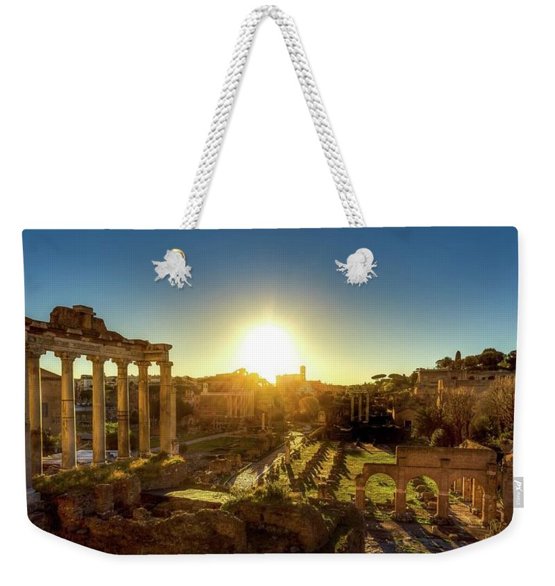 Landscape Weekender Tote Bag featuring the photograph Sunrise At The Ruins by Mike Houghton BlueMaxPhotography