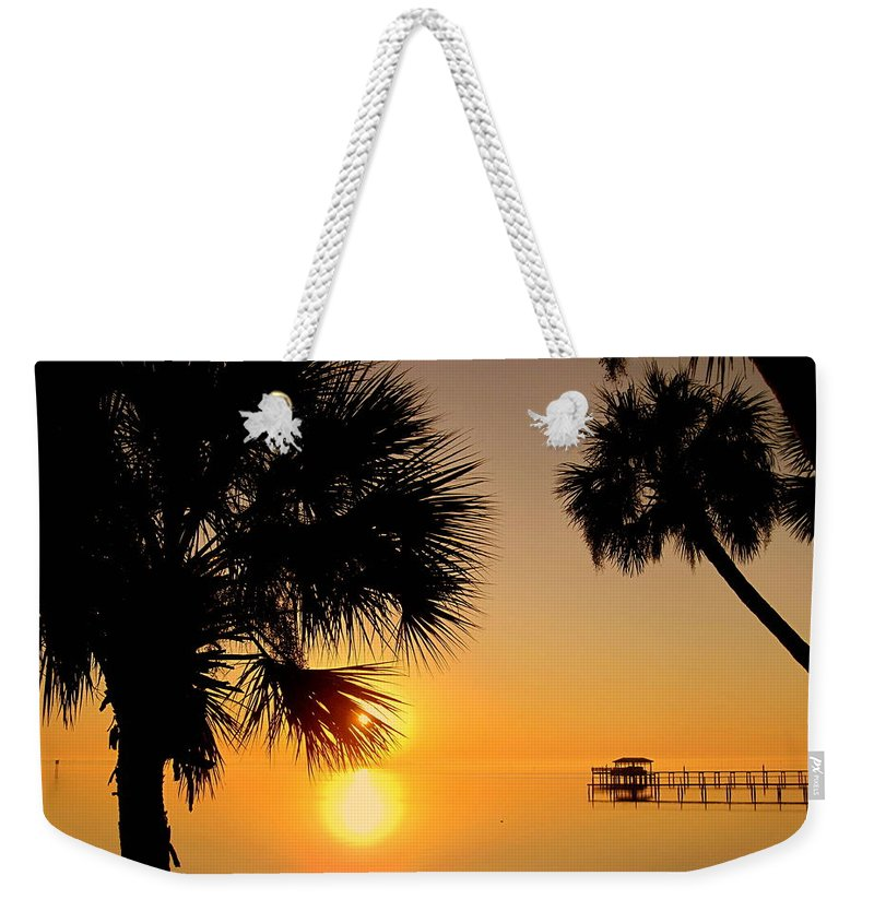 Sunrise Weekender Tote Bag featuring the photograph Sunrise At The Space Coast Fl by Susanne Van Hulst