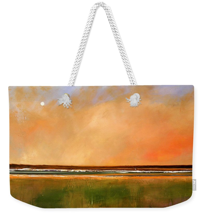 Sunrise Weekender Tote Bag featuring the painting Sunrise Beach by Toni Grote