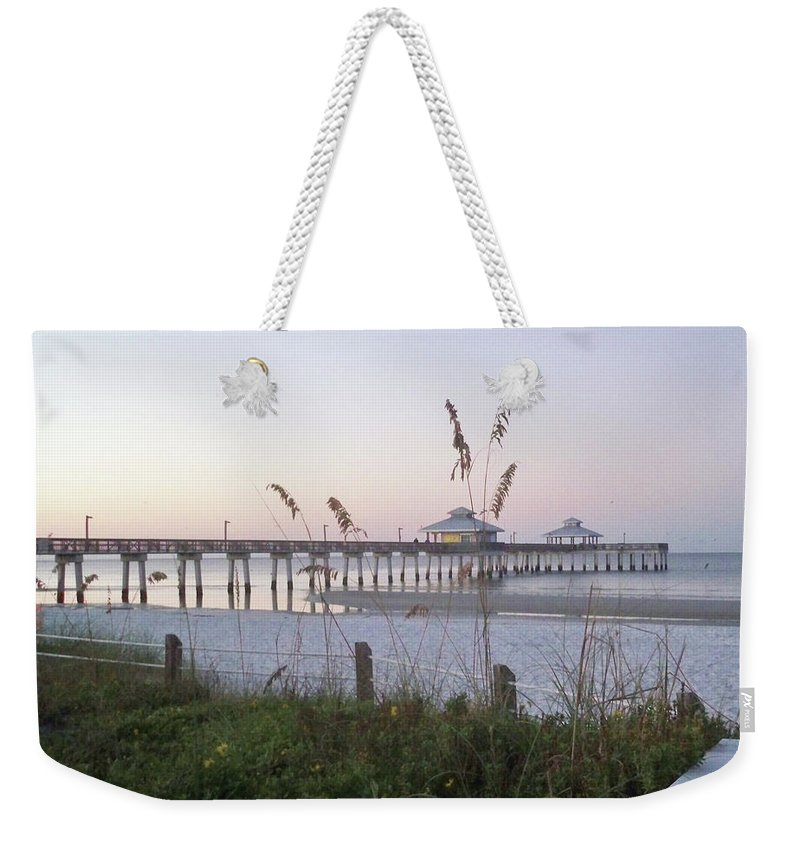 Florida Weekender Tote Bag featuring the photograph Sunrise Beyond Pier by Chris Andruskiewicz