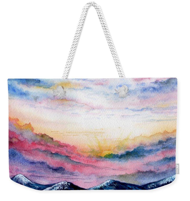 Watercolor Weekender Tote Bag featuring the painting Sunrise by Brenda Owen