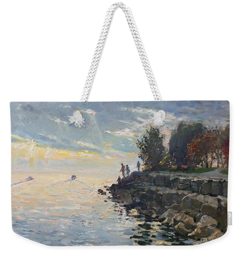 Lake Shore Weekender Tote Bag featuring the painting Sunrise Fishing by Ylli Haruni