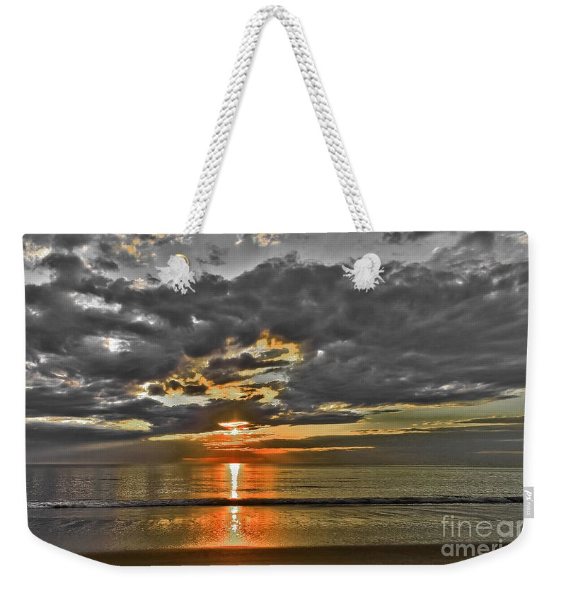 Ocean Weekender Tote Bag featuring the photograph Sunrise-hdr-bw With A Touch Of Color by Claudia M Photography