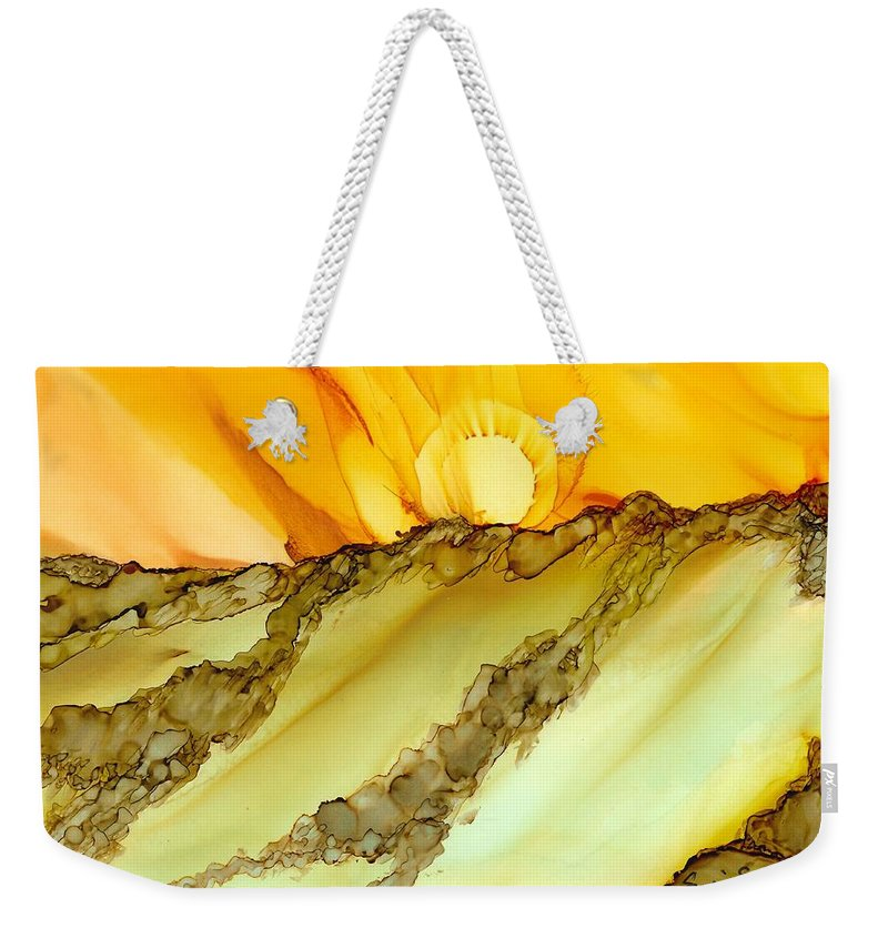 Sunrise Weekender Tote Bag featuring the painting Sunrise Hill by Susie Shanlian
