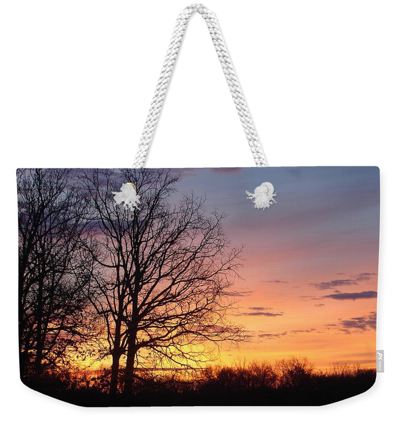 Tree Black Orange Weekender Tote Bag featuring the photograph Sunrise In Illinois by Luciana Seymour