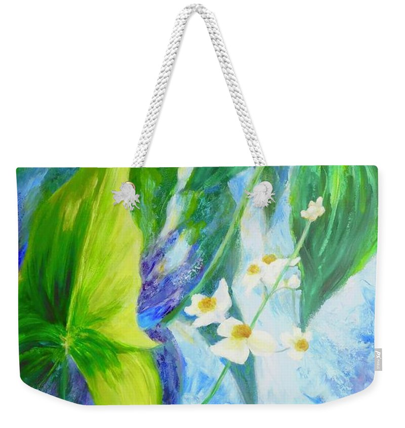 Garden Weekender Tote Bag featuring the painting Sunrise In My Garden by Irene Hurdle