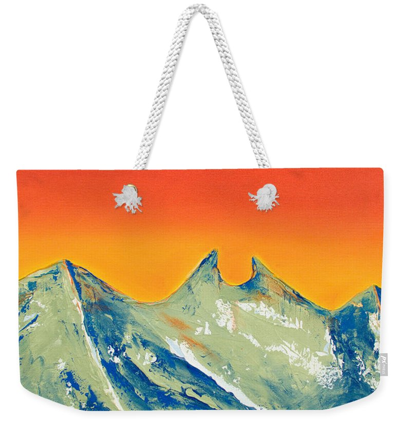 Mountain Painting Weekender Tote Bag featuring the painting Sunrise La Silla by Kandyce Waltensperger