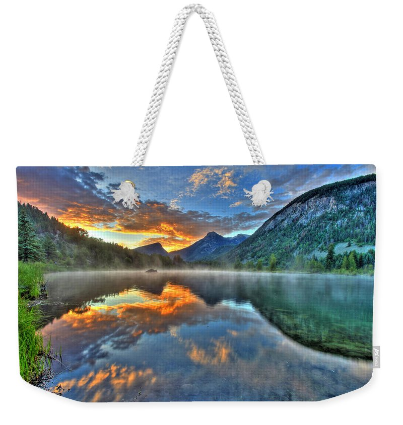 Colorado Weekender Tote Bag featuring the photograph Sunrise Lake by Scott Mahon