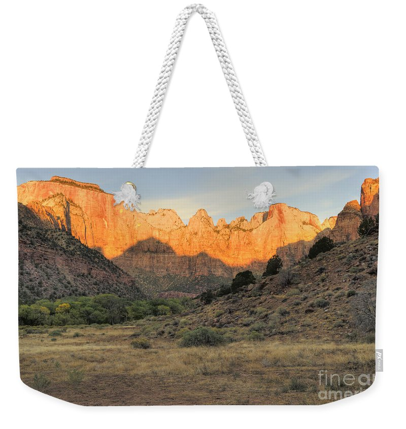 Hdr Weekender Tote Bag featuring the photograph Towers Of The Virgin At Sunrise by Sandra Bronstein