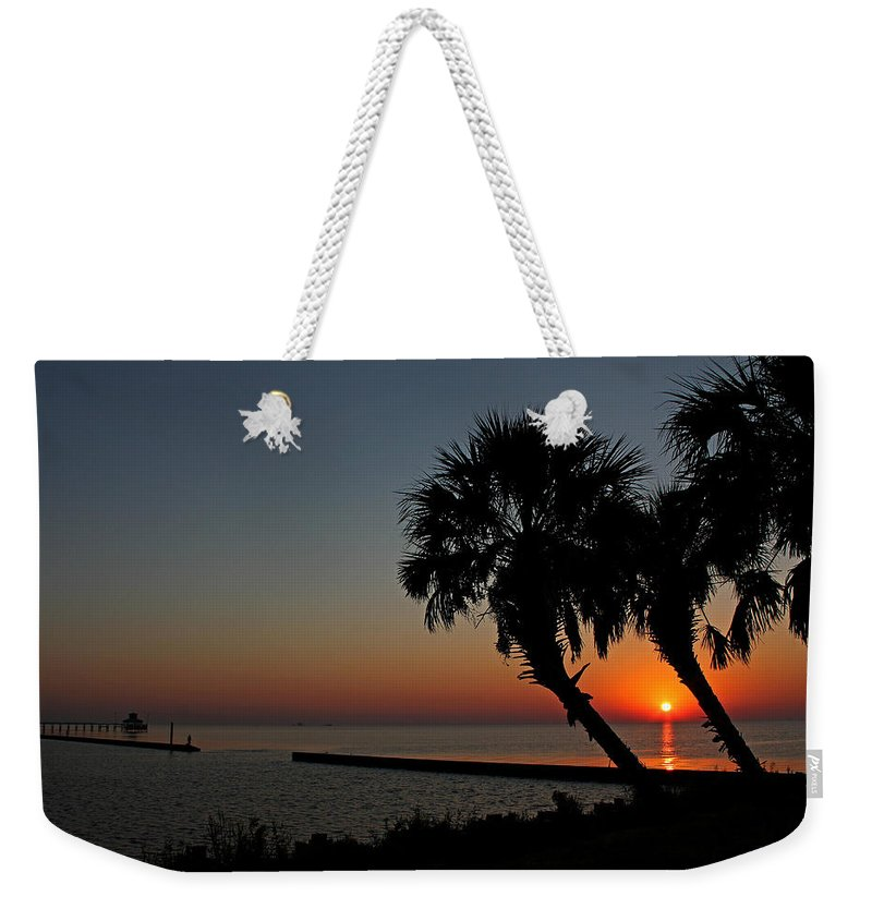 America Weekender Tote Bag featuring the photograph Sunrise On Pleasure Island by Judy Vincent