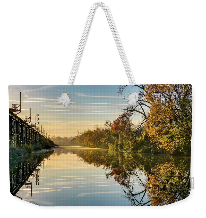 Sunrise Weekender Tote Bag featuring the photograph Sunrise On The Canal by Tim Wilson
