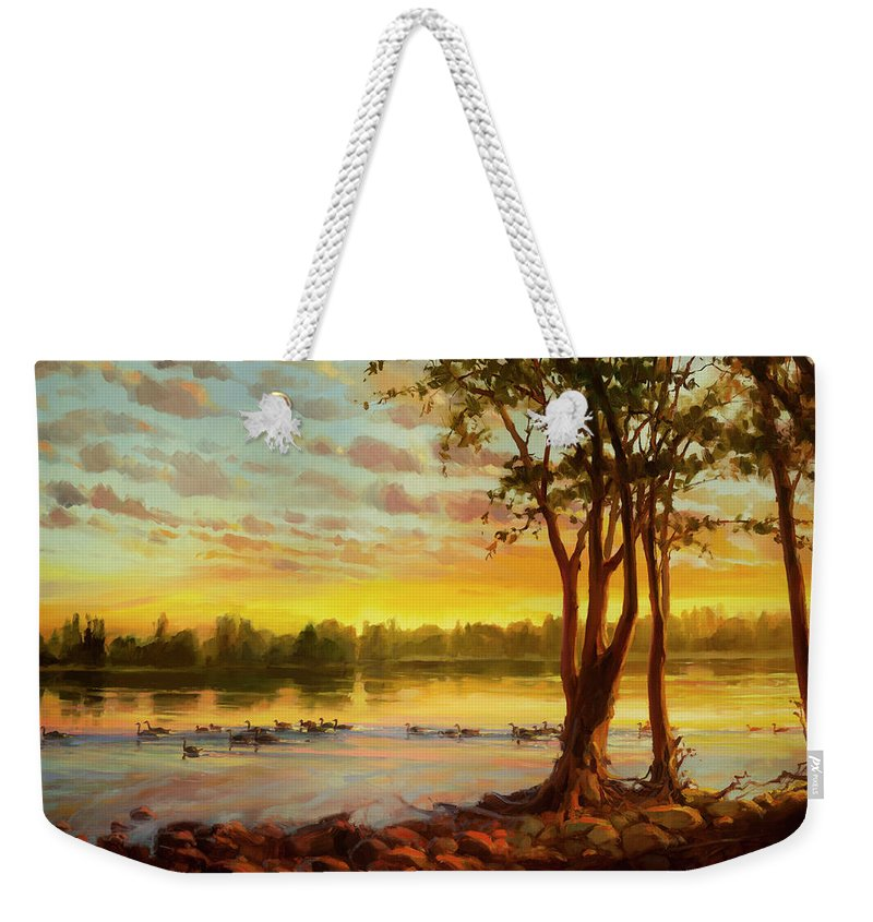 Landscape Weekender Tote Bag featuring the painting Sunrise On The Columbia by Steve Henderson