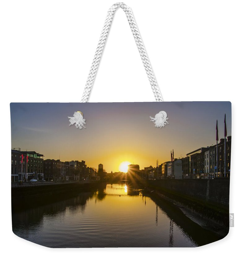 Sunrise Weekender Tote Bag featuring the photograph Sunrise On The Liffey River - Dublin Ireland by Bill Cannon