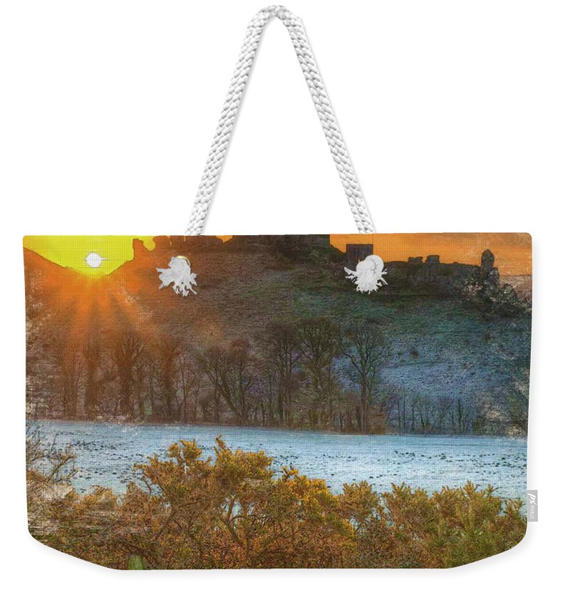 Decoration Weekender Tote Bag featuring the digital art Sunrise Over Corfe by Don Kuing