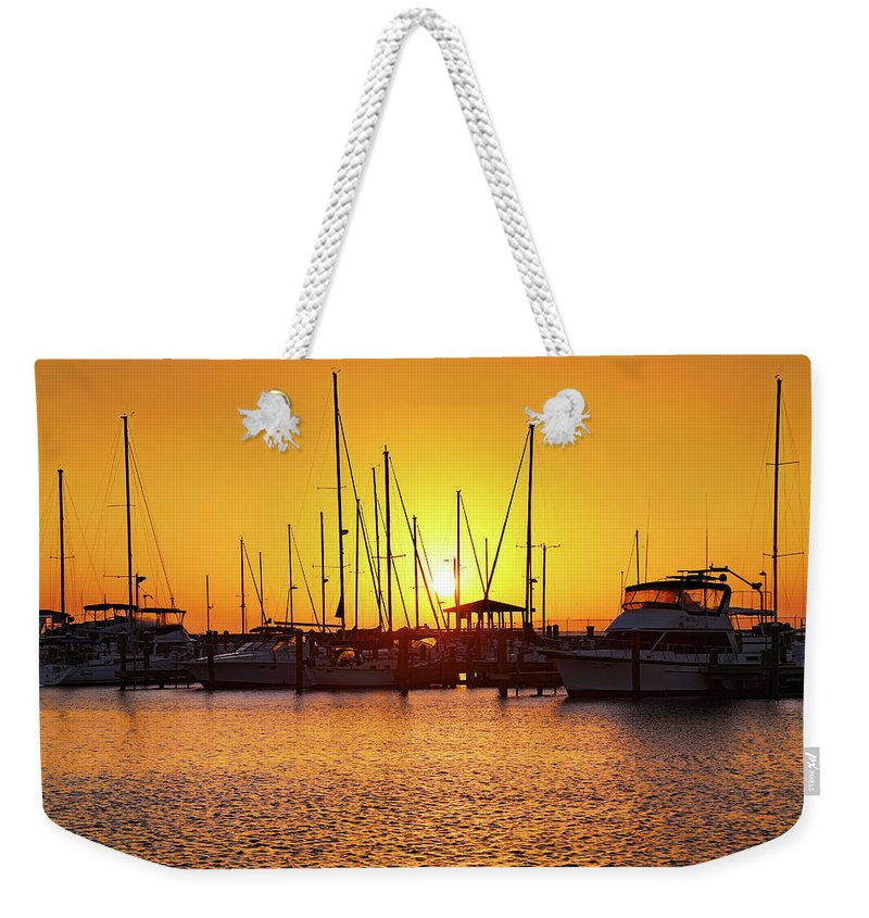 Long Beach Weekender Tote Bag featuring the photograph Sunrise Over Long Beach Harbor - Mississippi - Boats by Jason Politte