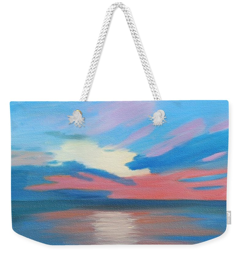 Fine Art Weekender Tote Bag featuring the painting Sunrise Over Ocean City Maryland by Ruth Housley