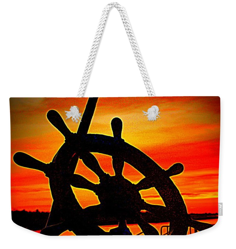 Sunrise Weekender Tote Bag featuring the photograph Sunrise Over The Captain's Wheel 2 by Suzanne DeGeorge