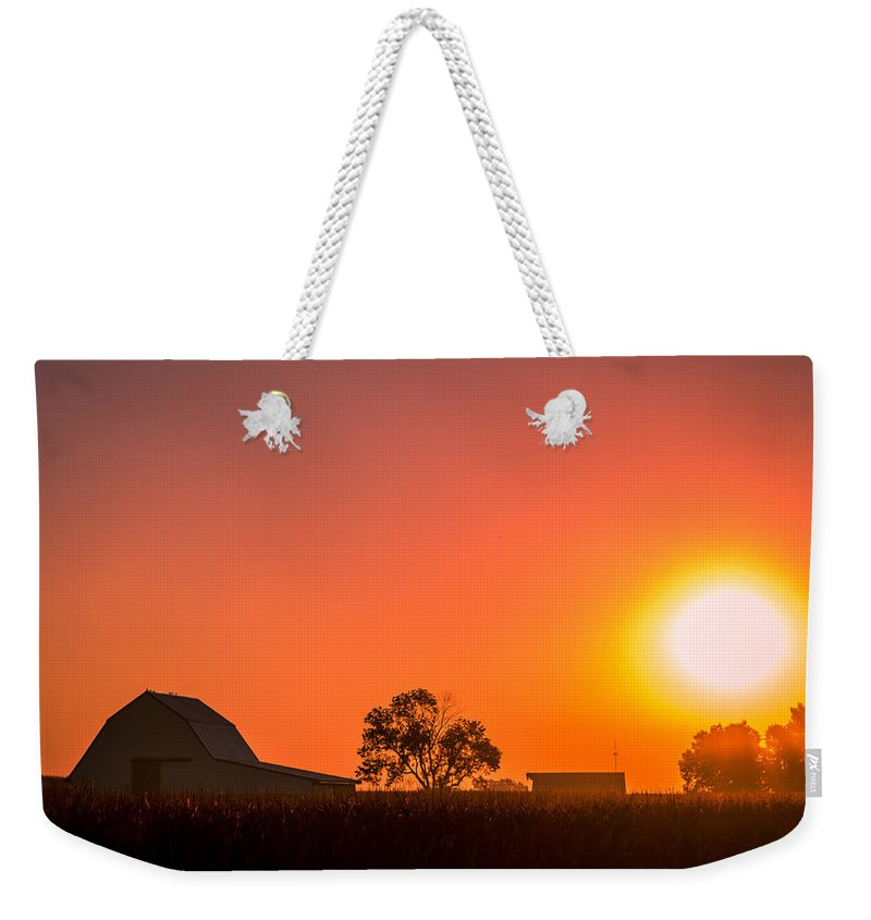Barn Weekender Tote Bag featuring the photograph Sunrise Over The Farm by Ron Pate