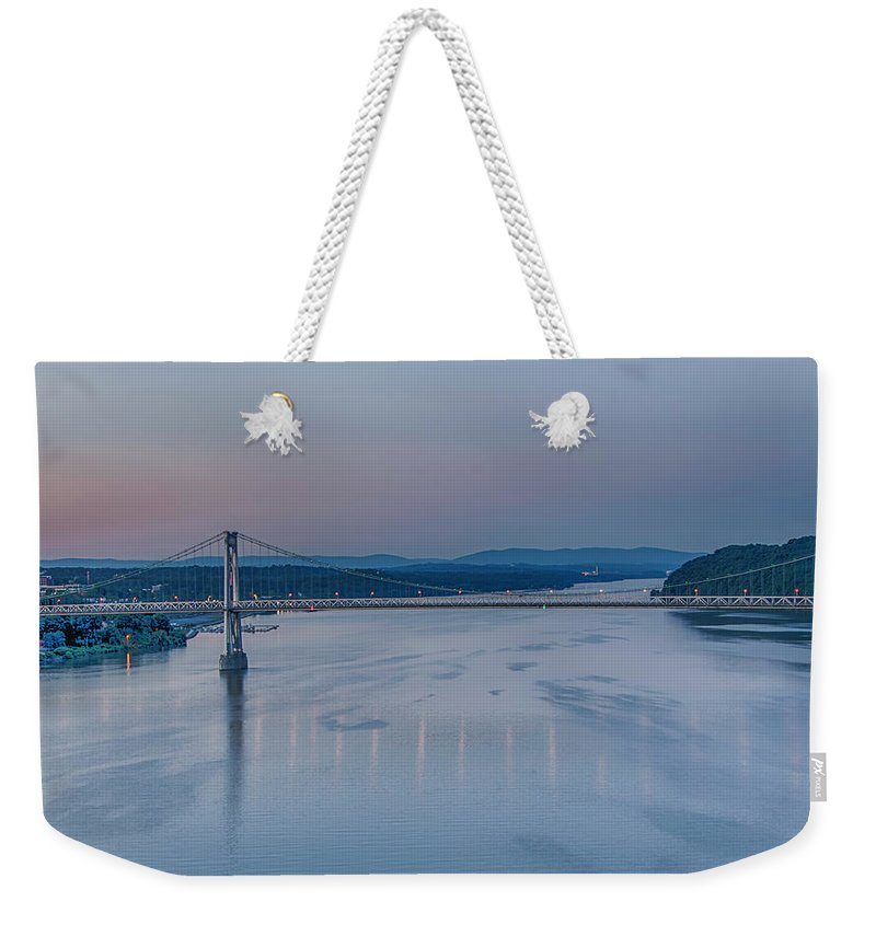 Hudson River Weekender Tote Bag featuring the photograph Sunrise Over The Hudson by Eleanor Bortnick