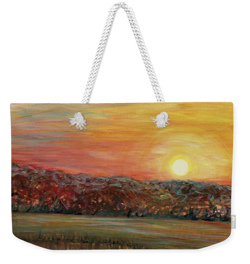 Sunrise Weekender Tote Bag featuring the painting Sunrise Over The Marsh by Nadine Rippelmeyer